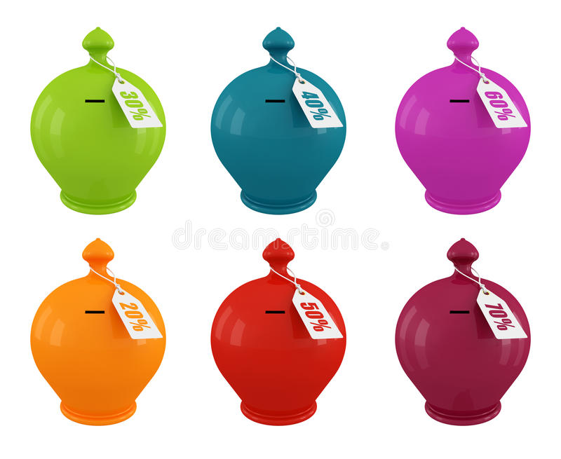 Download Set Of Multicolored Moneybox Stock Illustration - Illustration: 18498220