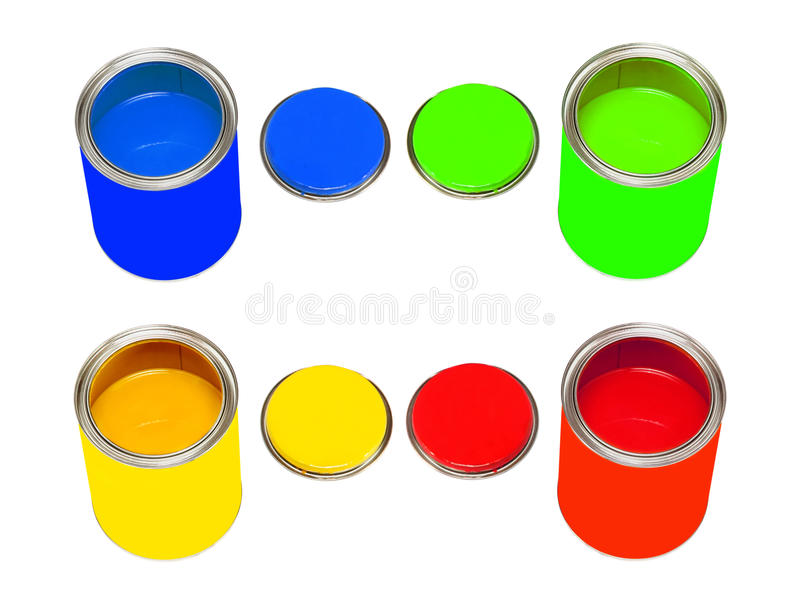 Set of multicolored paint cans isolated on white. royalty free stock photos