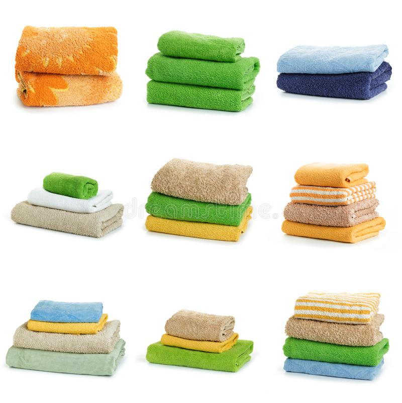 Set of Multicolored towels on a white background. Multicolored towels on a white background stock photography