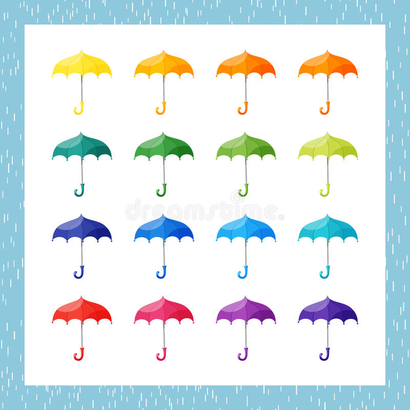 Set of multicolored umbrellas on white background. Vector seamless pattern with rain, editable for your design stock illustration