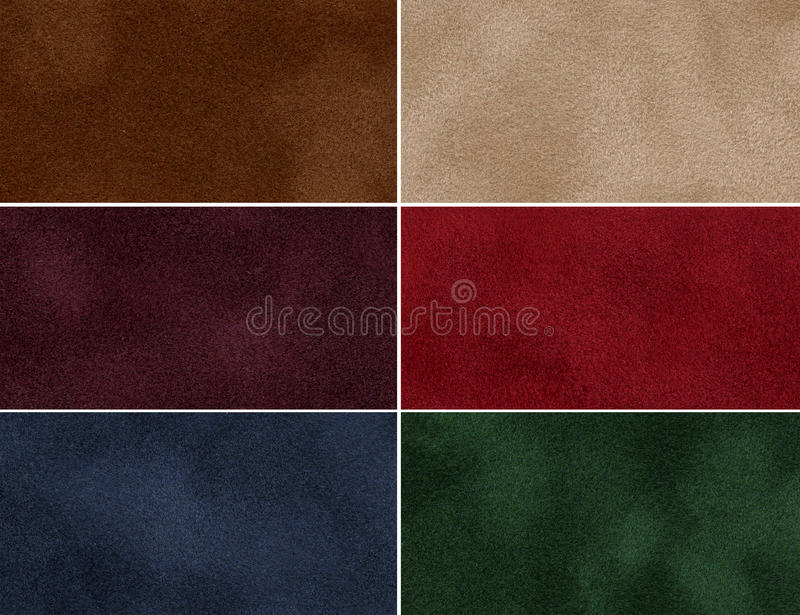 Set of multicolored velvet texture. Set of multicolored velvet high-resolution textures for background stock image