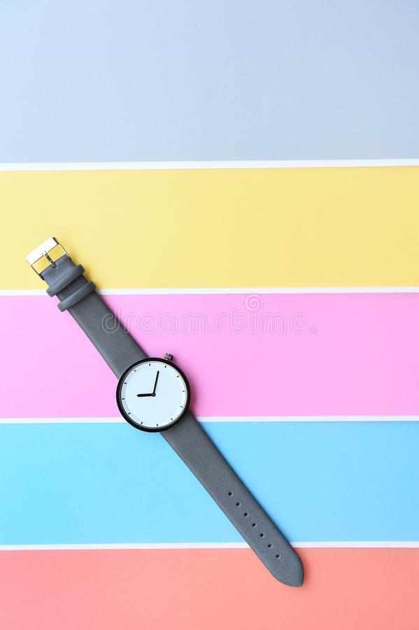 Set of multicolored wristwatches for background stock photo