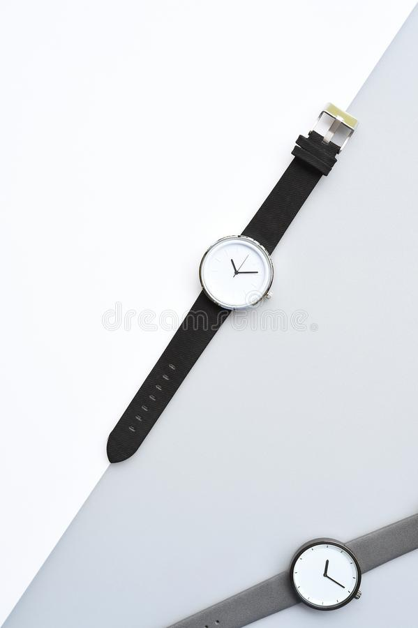 Set of multicolored wristwatches for background stock images