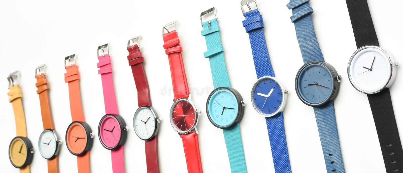 Set of multicolored wristwatches royalty free stock image