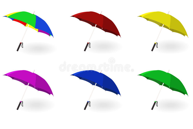 Set of multicoloured umbrellas