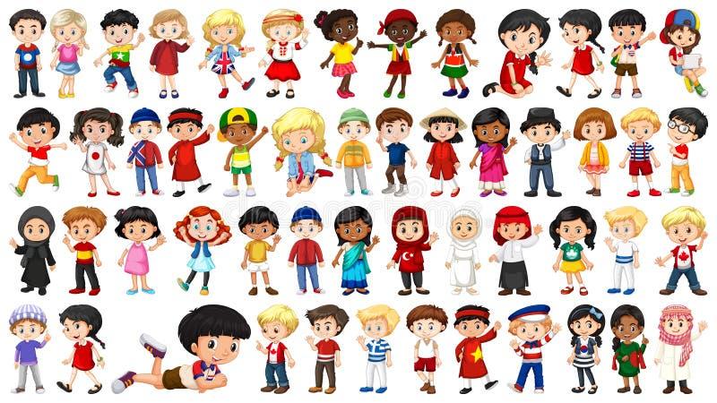 Set of multicultural kids character stock illustration