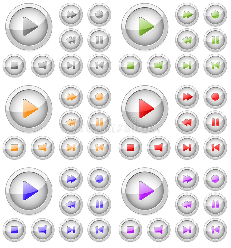 Set of multimedia buttons. royalty free illustration
