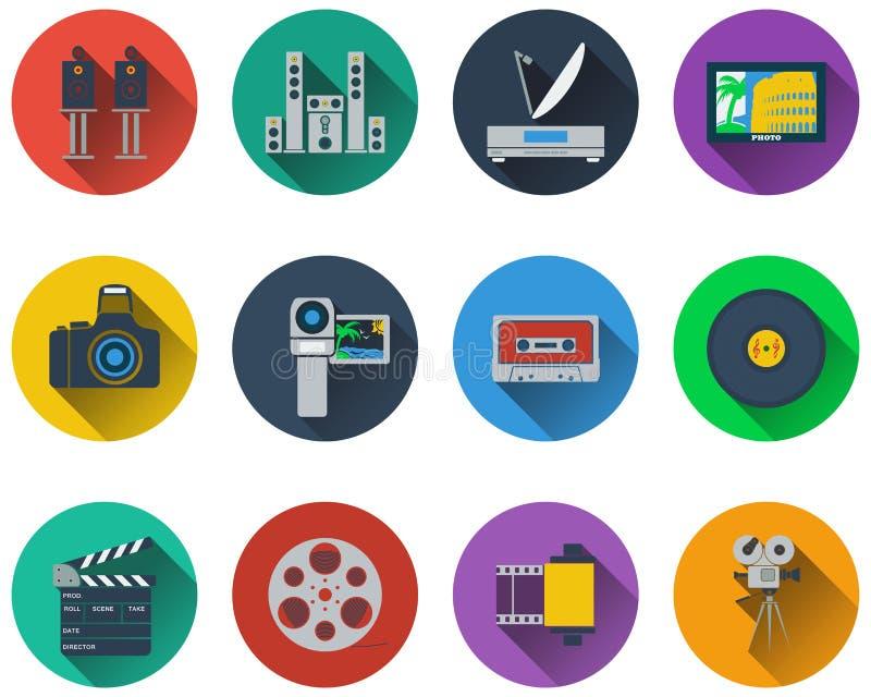 Set of multimedia icons stock illustration
