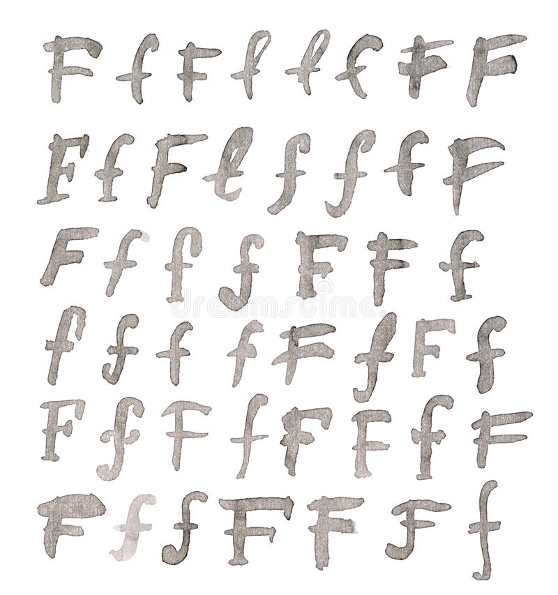 Set of multiple F letters isolated stock photography