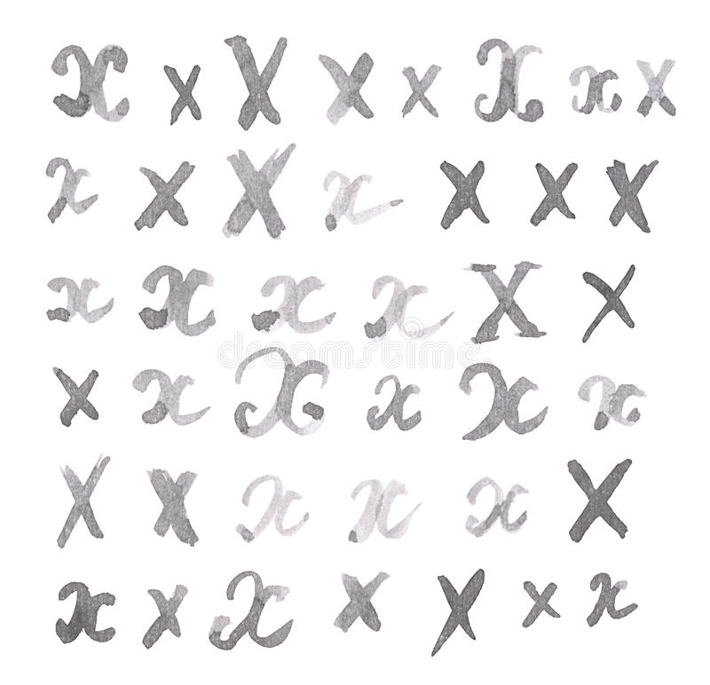 Set of multiple X letters isolated stock images