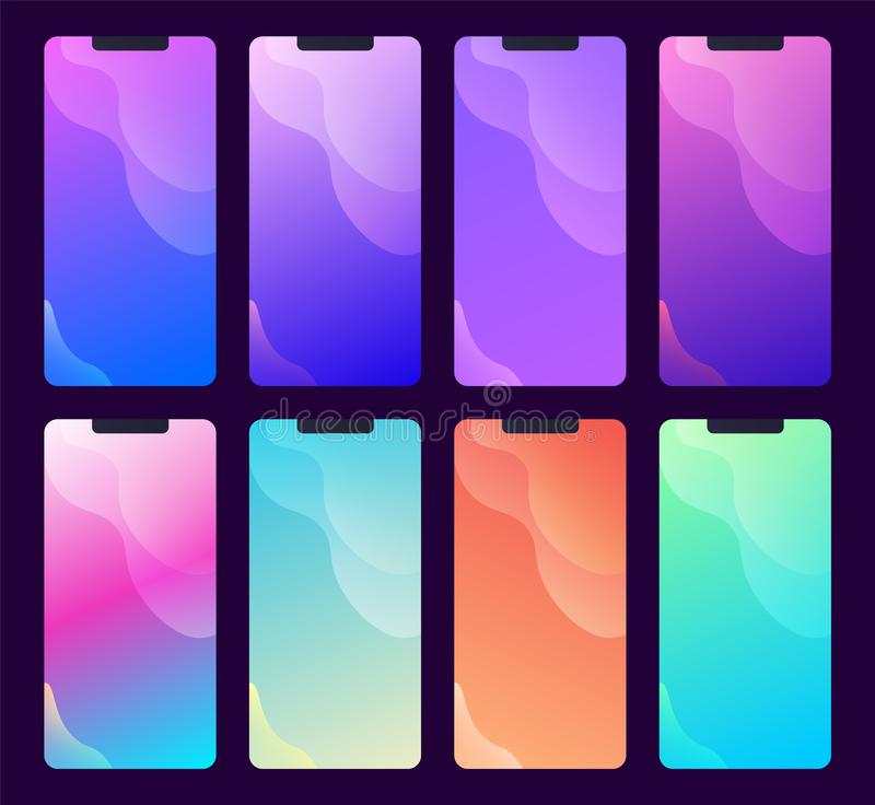 Set of multiple phone screen backgrounds and wallpapers vector illustration