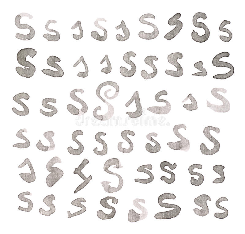 Set of multiple S letters isolated stock image