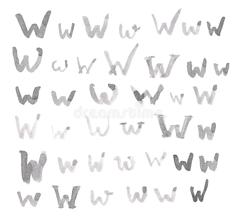 Set of multiple W letters isolated stock image