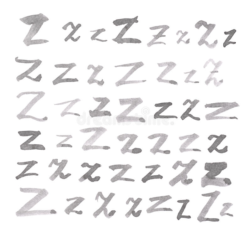 Set of multiple Z letters isolated stock image