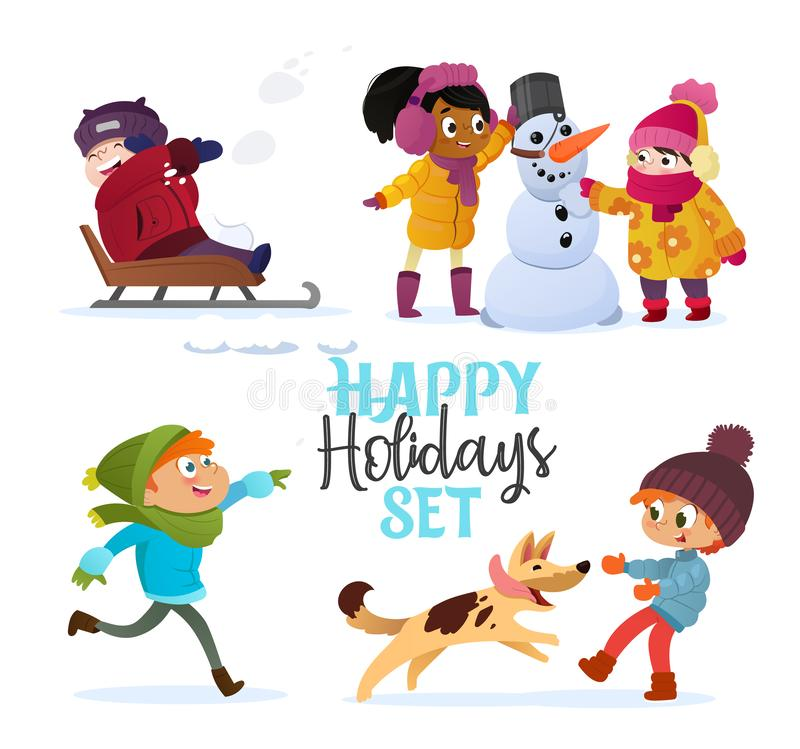 Set multiracial kids playing in winter. Girls and boys making snowman, children playing in snowballs, sledding, playing royalty free illustration
