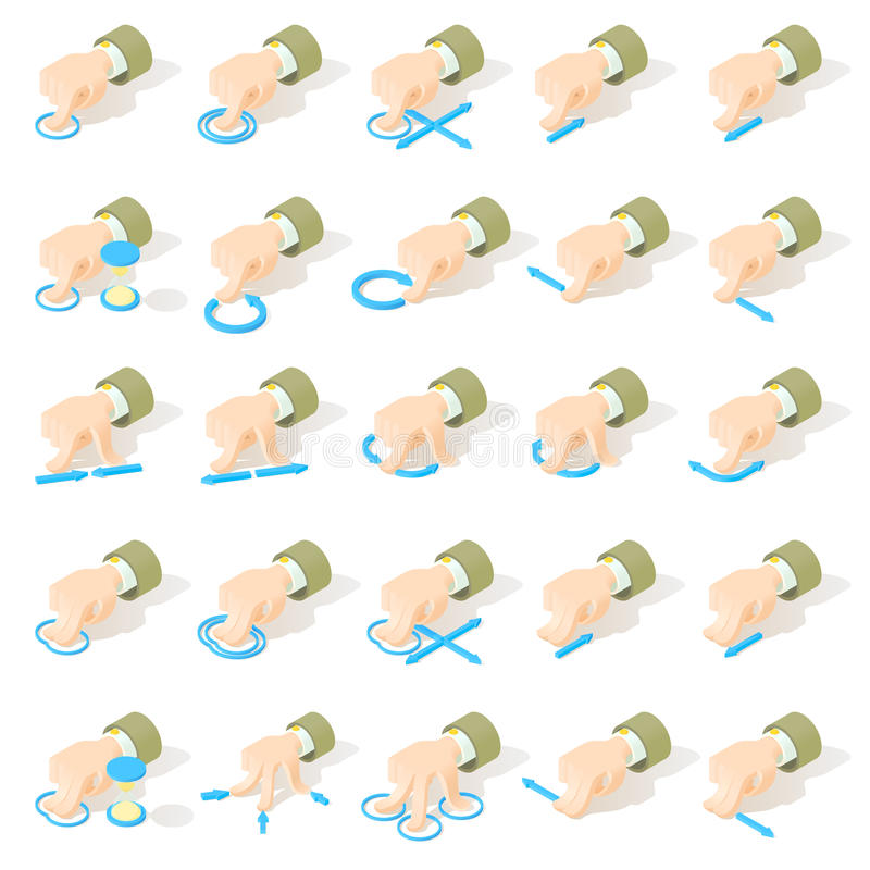 Set of 25 multitouch screen gestures icons royalty free stock photography