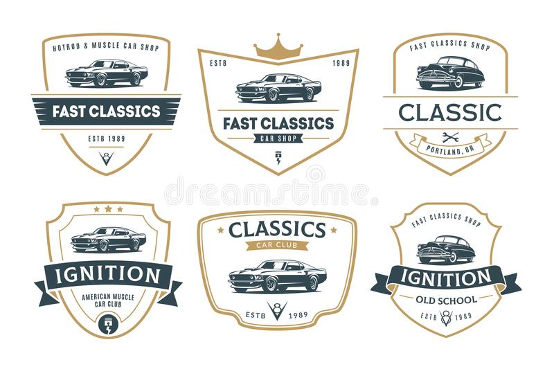 Set of muscle car emblems and badges. vector illustration