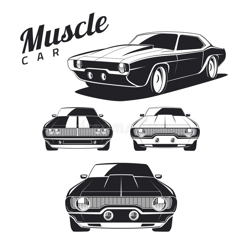 Set of muscle car icons and emblems on white background. vector illustration