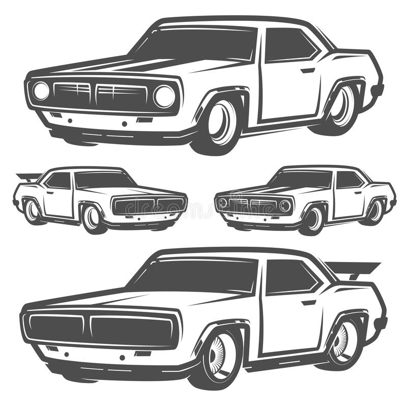 Set of muscle car for logo and emblems.Retro and vintage style.Drag racing car. Set of muscle car for logo and emblems.Retro and vintage style vector illustration