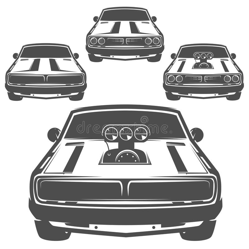 Set of muscle car for logo and emblems.Retro and vintage style.Drag racing car. Set of muscle car for logo and emblems.Retro and vintage style stock illustration