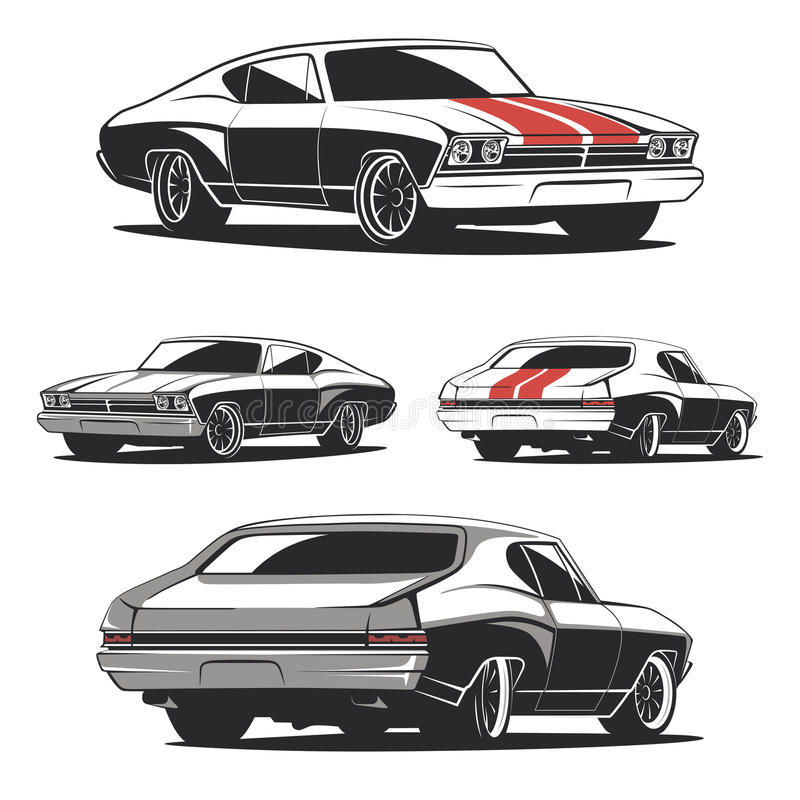 Set of muscle car templates for icons and emblems. stock illustration