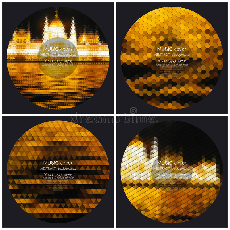 Set of 4 music album cover templates. Night city landscape. Abstract multicolored backgrounds. Natural geometrical patterns. Triangular and hexagonal style stock illustration