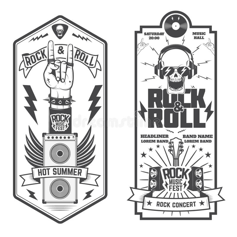 Set Of The Music Flyer. Rock Festival Flyer Template. Stock Vector ...