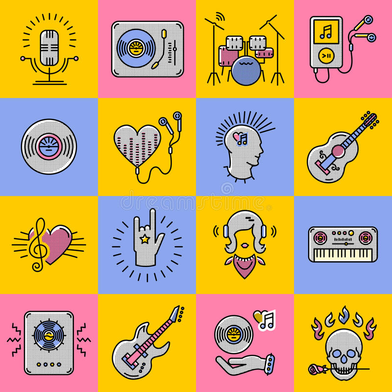 Set music icons line art Rock, jazz, punk, instruments vector illustration