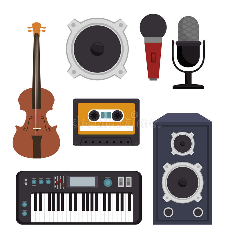 Set the music industry devices isolated icon design. Illustration graphic vector illustration