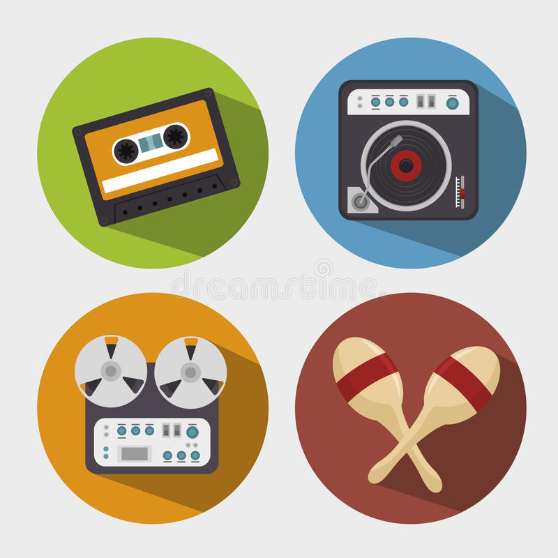 Set the music industry devices isolated icon design. Illustration graphic royalty free illustration