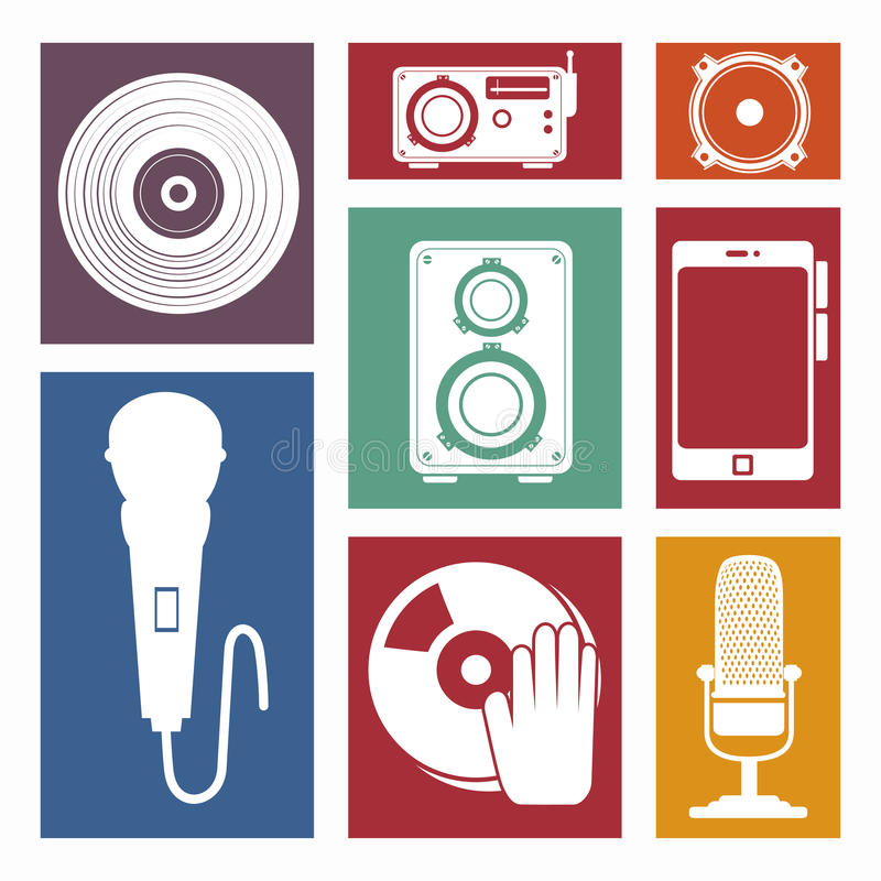 Set the music industry devices isolated icon design. Illustration graphic stock illustration
