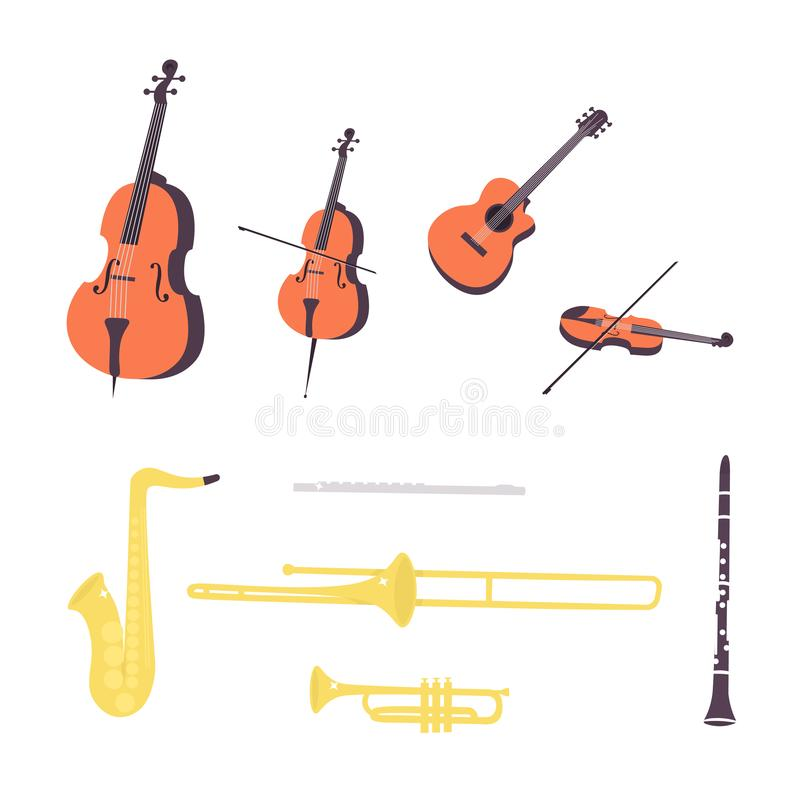 Set music string and wind instruments royalty free illustration