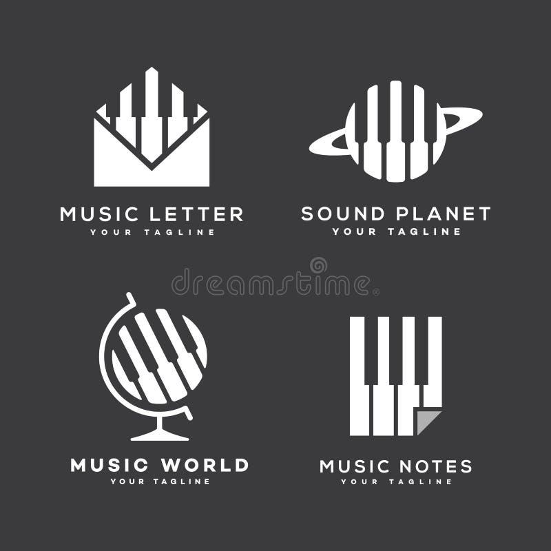 Music logos set vector illustration