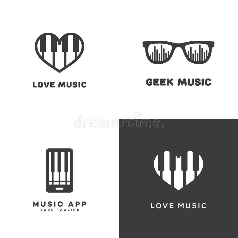 Music logos set stock illustration