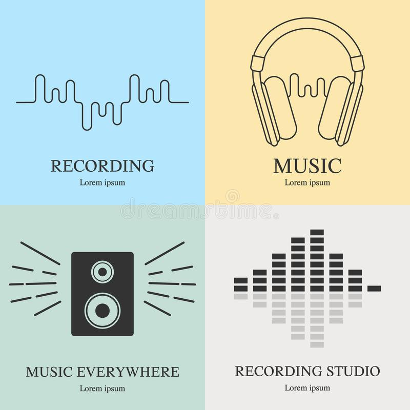 Set of music logos templates. Recording studio labels. Radio badges with sample text. Vector illustration for design, web. royalty free illustration
