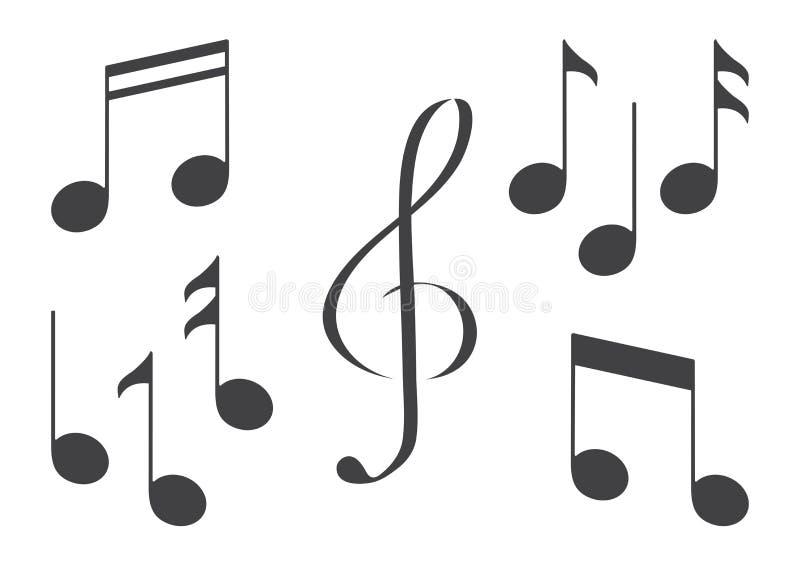 Set of music notes. Black silhouette. Vector. Illustration stock illustration