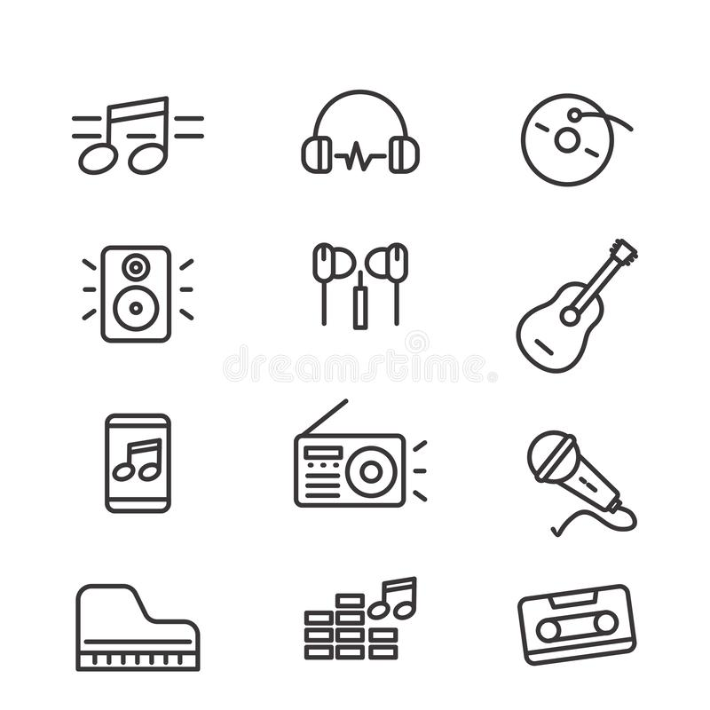 Set of music related vector illustration with line design. Such as note, headphone, speaker and more suitable for icon or logo vector illustration