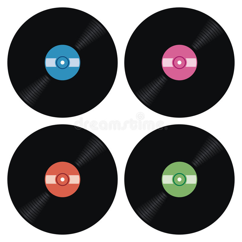 Set of music retro vinyl record icons, vector stock illustration