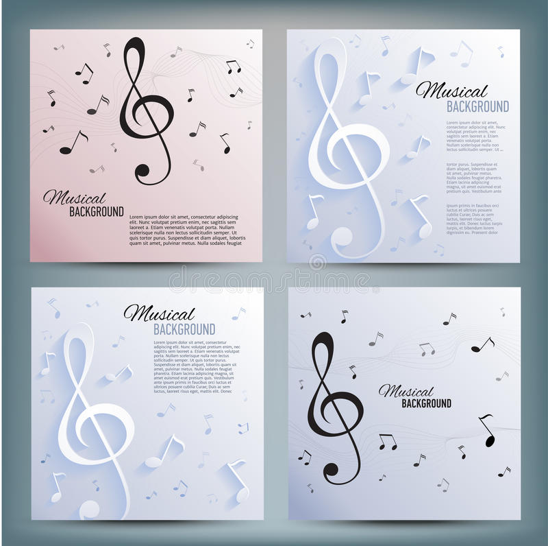Set of musical banners with key and notes vector illustration