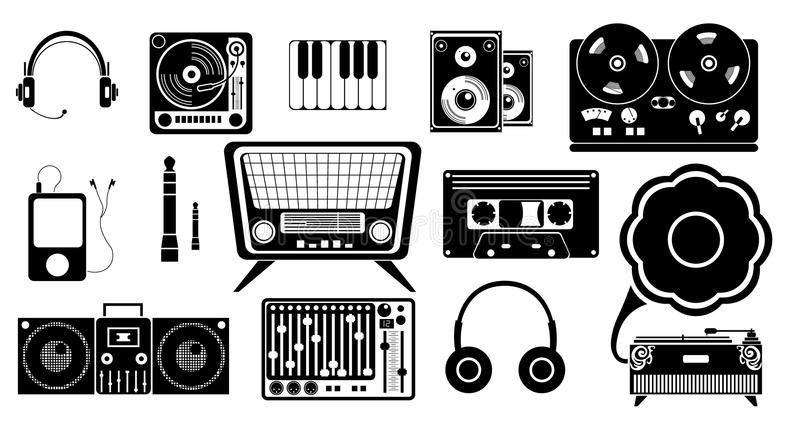 Set of musical icons royalty free stock image