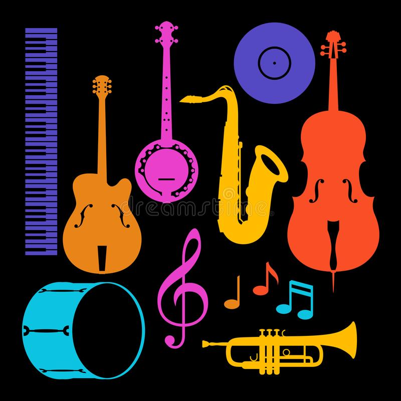 Set of musical instruments. Jazz, blues and classical music.  stock illustration