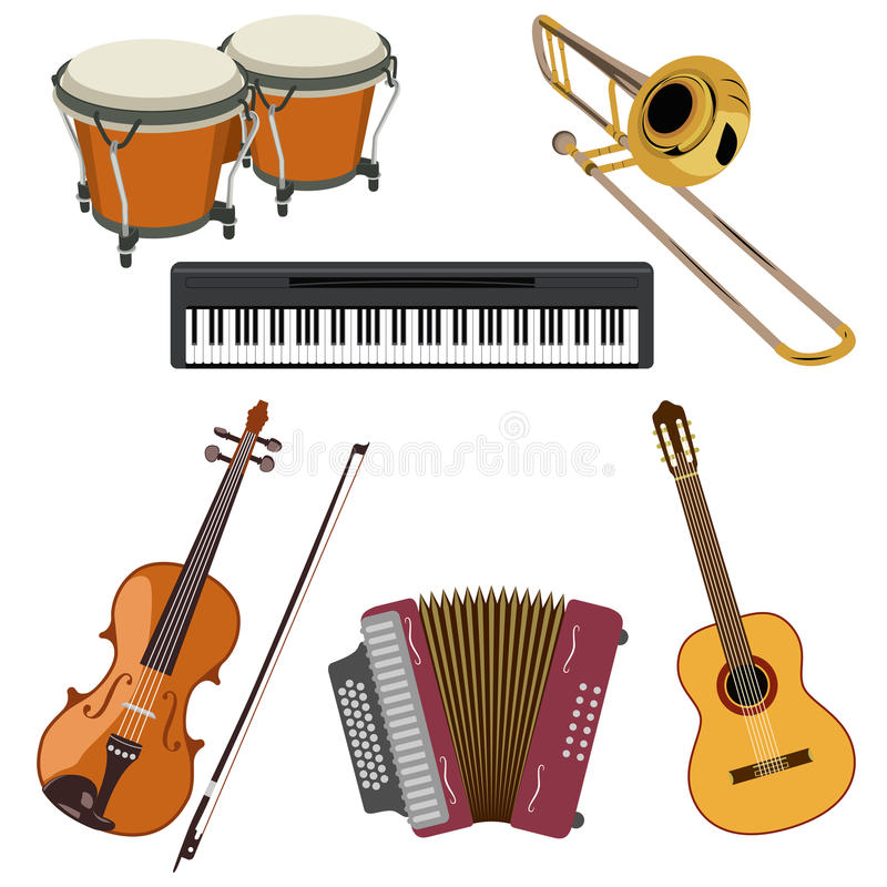 Download Set of musical instruments stock vector. Image of things - 30430249