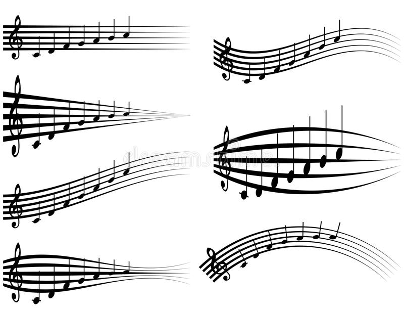 Set musical staff, various musical notes on stave, vector illustration distortion of the notes with the treble clef vector illustration