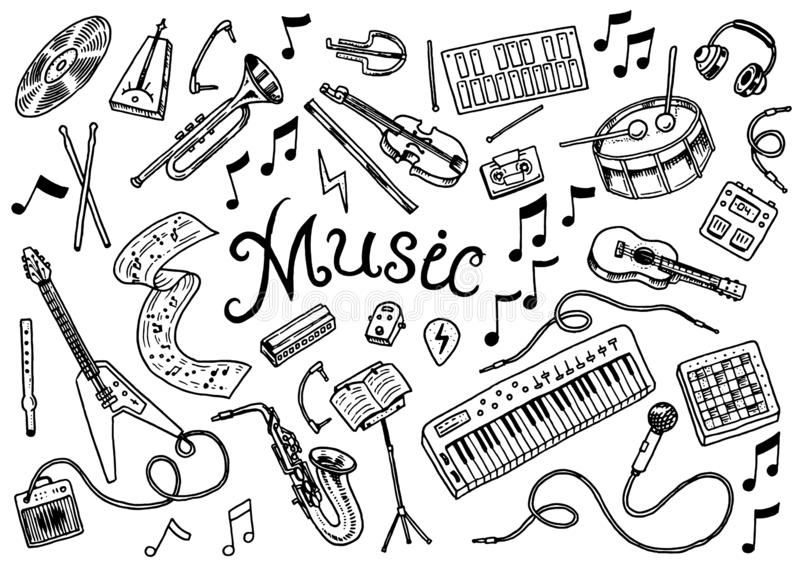 Set of musical symbols and icons. Guitar Drums Piano, creative tools and hobbies. Vintage outline sketch for web banners vector illustration