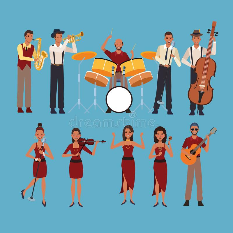 Set of musician artists. Cartoons over blue background vector illustration graphic design royalty free illustration