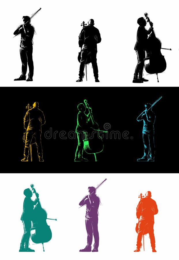 Set of musicians playing classical instruments. Men playing the violin, cello, and string bass. Vector isolated design elements. Set of musicians playing royalty free illustration