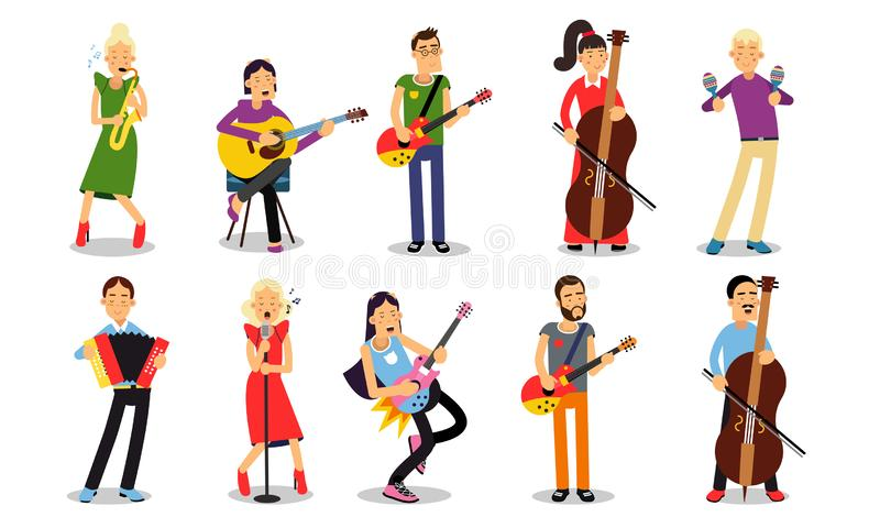 Set With Musicians Playing Different Instruments Illustrations Isolated On White Backround. A girl and a boy play the cello, a woman sings and plays the trumpet stock illustration