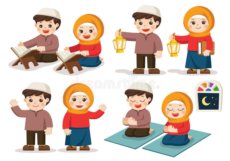 Set of Muslim Boy and Girl. Isolated vector. Muslim Boy and Girl reading Quran The Holy Book of Islam, Carrying Ramadan Lanterns, Praying in the room vector illustration