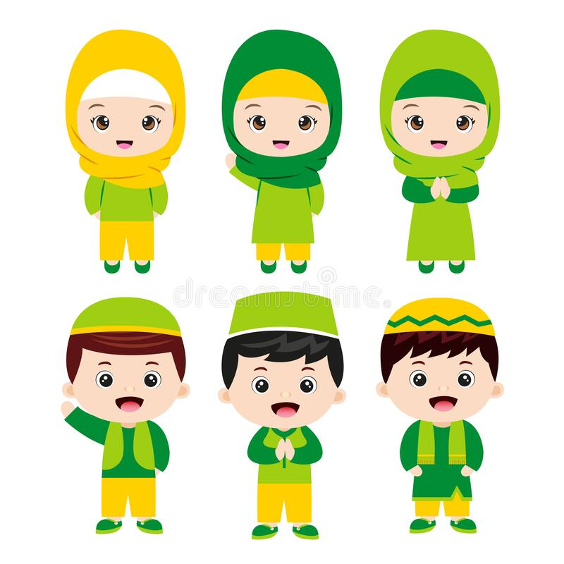 Set of Muslim kids Cartoon Character with various costume stock photography