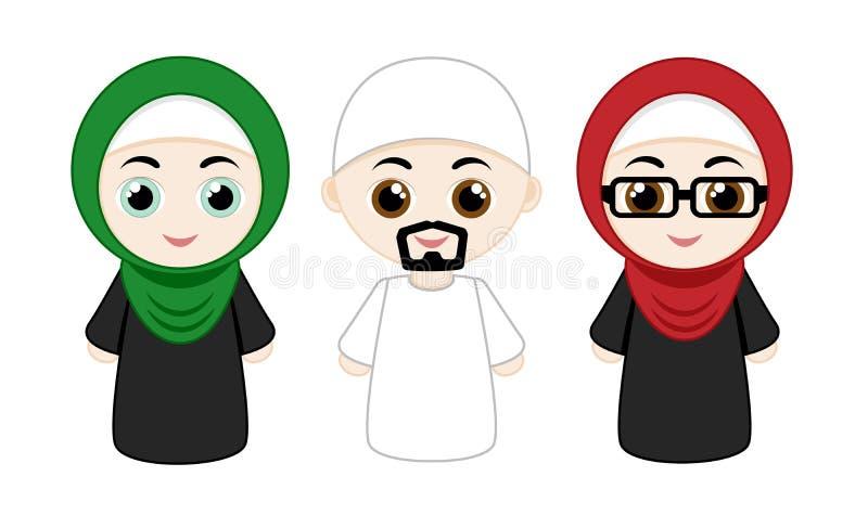 Set of muslim people stock illustration